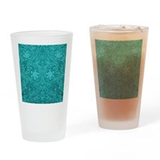Teal Green Faux Suede Leather Flora Drinking Glass
