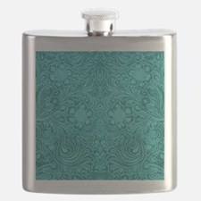 Teal Green Faux Suede Leather Floral Design Flask
