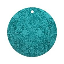 Teal Green Faux Suede Leather Flo Ornament (Round)