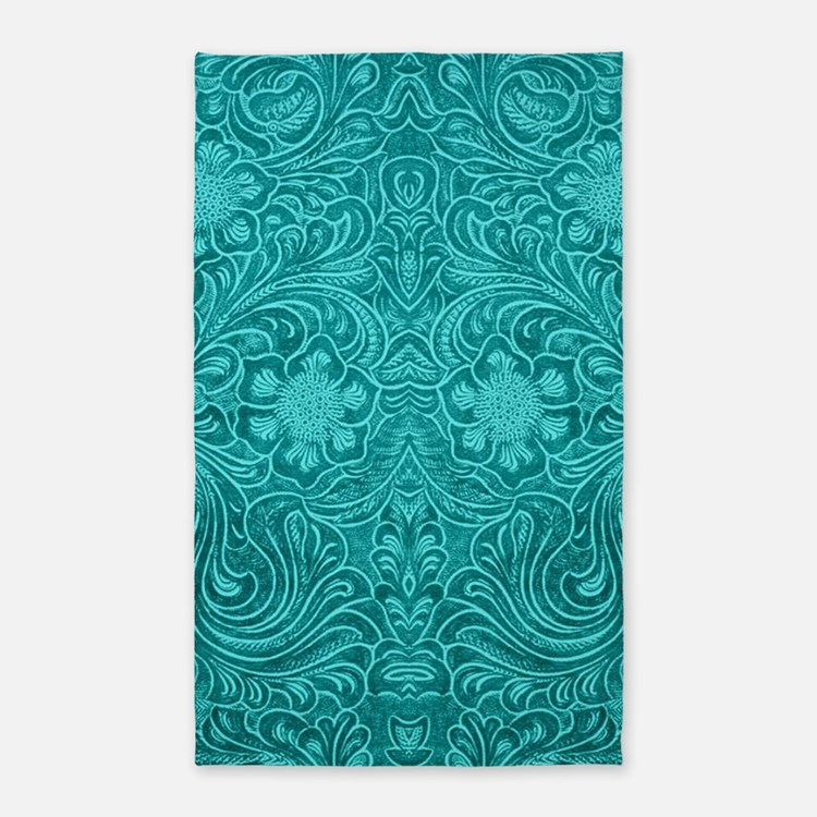 Teal Green Faux Suede Leather Floral Desi Area Rug
