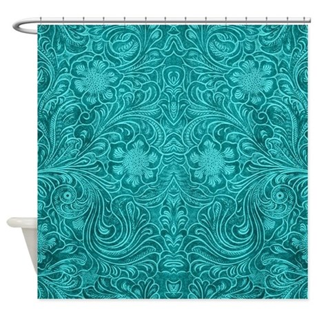 Teal Green Faux Suede Leather Flora Shower Curtain By ADMIN CP63016328