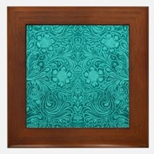 Teal Green Faux Suede Leather Floral D Framed Tile