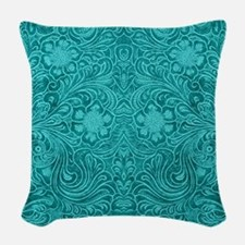 Teal Green Faux Suede Leather Woven Throw Pillow