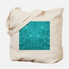 Teal Green Faux Suede Leather Floral Desi Tote Bag