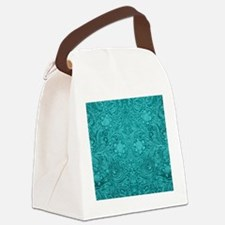 Teal Green Faux Suede Leather Flo Canvas Lunch Bag