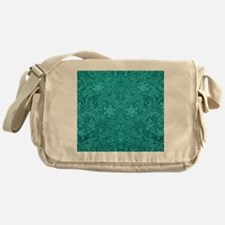 Teal Green Faux Suede Leather Floral Messenger Bag
