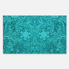 Teal Green Faux Suede Leather Floral Desig Decal
