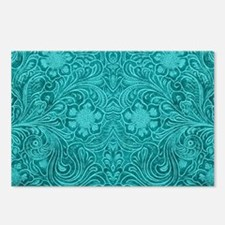 Teal Green Faux Suede Lea Postcards (Package of 8)