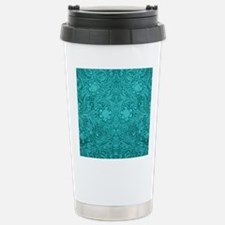 Teal Green Faux Suede L Stainless Steel Travel Mug
