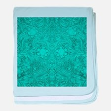 Teal Green Faux Suede Leather Floral baby blanket