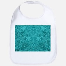 Teal Green Faux Suede Leather Floral Design Bib