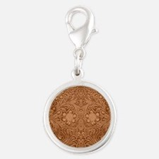 Brown Faux Suede Leather Floral Design Charms