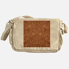 Brown Faux Suede Leather Floral Desi Messenger Bag
