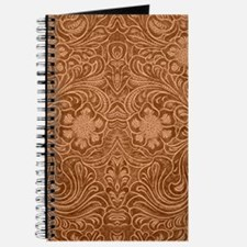 Brown Faux Suede Leather Floral Design Journal