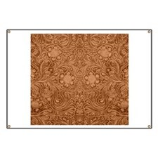 Brown Faux Suede Leather Floral Design Banner