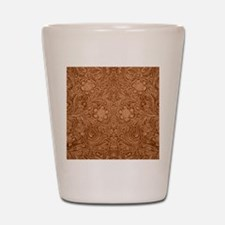 Brown Faux Suede Leather Floral Design Shot Glass