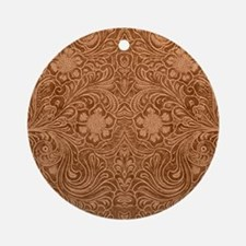 Brown Faux Suede Leather Floral D Ornament (Round)