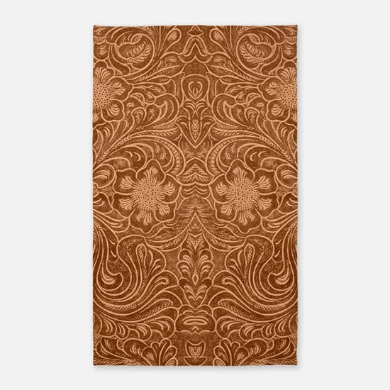 Brown Faux Suede Leather Floral Design Area Rug