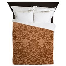 Brown Faux Suede Leather Floral Design Queen Duvet