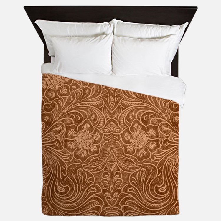 Brown Faux Suede Leather Floral Design Queen Duvet