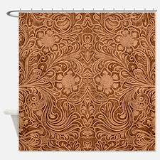 Brown Faux Suede Leather Floral Des Shower Curtain