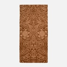 Brown Faux Suede Leather Floral Design Beach Towel