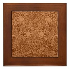 Brown Faux Suede Leather Floral Design Framed Tile
