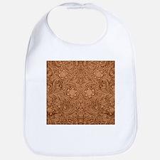 Brown Faux Suede Leather Floral Design Bib