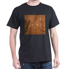 Brown Faux Suede Leather Floral Design T-Shirt
