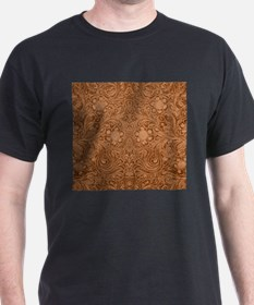 Brown Faux Suede Leather Floral Design T-Shirt