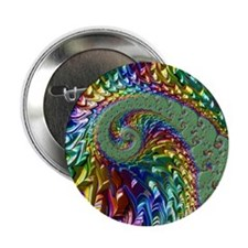 """Fractal Colorful Rainbow Abstract 2.25"""" Button"""