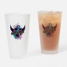 Thyroid Cancer Awareness 16 Drinking Glass