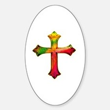 Colorful Cross Sticker (Oval)