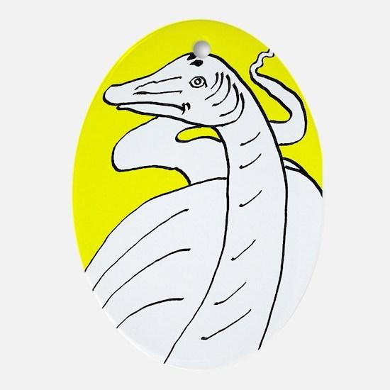 Diplodocus longus Yellow Oval Ornament