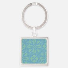 Floral: Dusk Blue, Grayed Jade Keychains