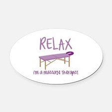 Relax Message Table Oval Car Magnet