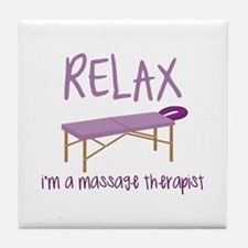 Relax Message Table Tile Coaster