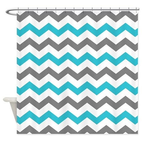 Teal And Gray Chevron Pattern Shower Curtain By