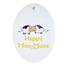 Happy Moo-Moos Oval Ornament