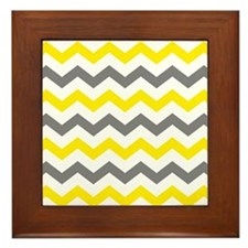 Yellow and Gray Chevron Pattern Framed Tile