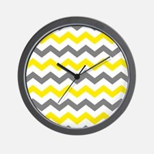 Yellow and Gray Chevron Pattern Wall Clock