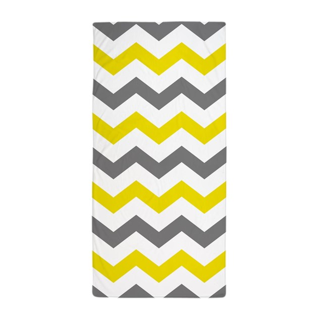 Yellow and Gray Chevron Pattern Beach Towel by ...