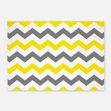 Yellow and Gray Chevron Pattern 5'x7'Area Rug