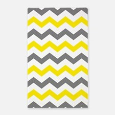 Yellow and Gray Chevron Pattern Area Rug