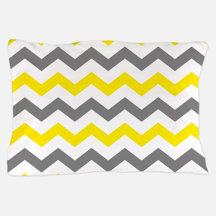 Yellow and Gray Chevron Pattern Pillow Case