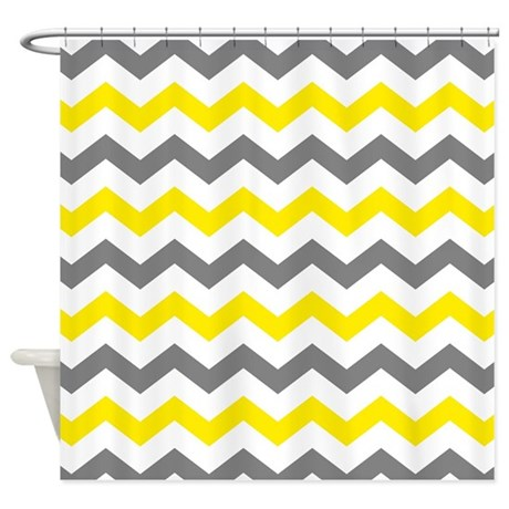 Yellow And Gray Chevron Pattern Shower Curtain By Printcreekstudio