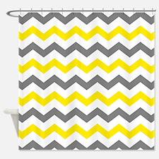 Yellow and Gray Chevron Pattern Shower Curtain