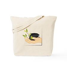 Holding Massage Stones Tote Bag