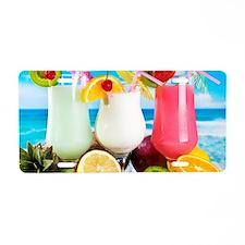 Exotic Summer Cocktails Aluminum License Plate