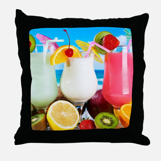 Exotic Summer Cocktails Throw Pillow